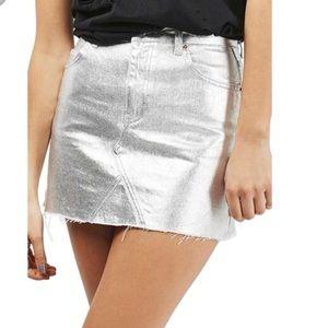 Topshop Moto Silver Coated Denim Mini Skirt NWT